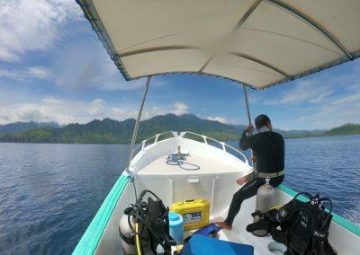 Bootsfahrt nach einem Tauchgang zu Pemuteran