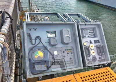 Arbeitsplatz des LSO (Landing Signal Officer) der USS Hornet