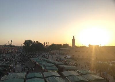 Sonnenuntergang am Platz Djemaa el Fna